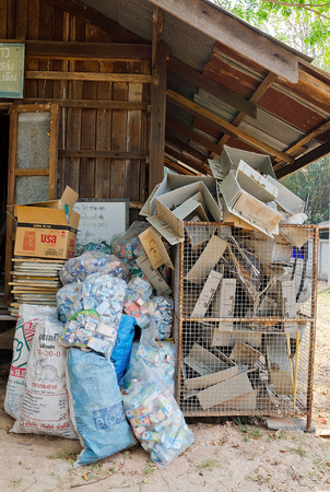 LAMPHUN, THAILAND – MARCH 14 : Zero waste village preparing waste for recycling at Ban  Nam-Phu. March 14, 2014.