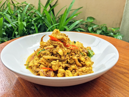 fried squid with curry power, Real traditional Thai food, One of favorite seafood menu.