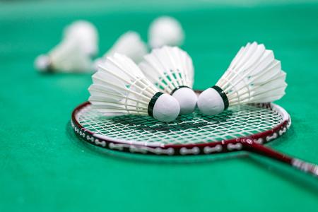 net: badminton shuttlecock and racket on court, selective focus.