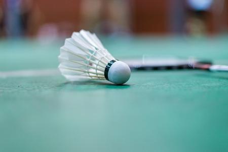 badminton shuttlecock in badminton court.
