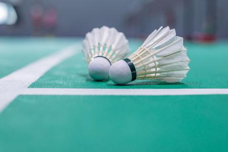badminton shuttlecock on green court. Standard-Bild - 110095492