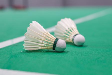 closeup badminton shuttlecock on green court. Standard-Bild - 110095513