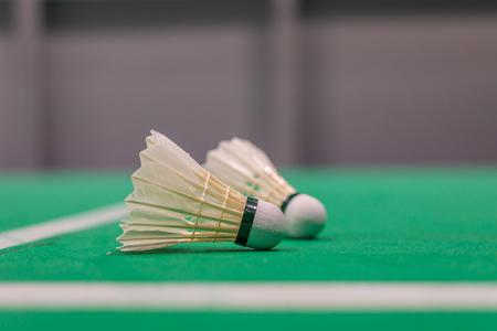 closeup badminton shuttlecock on green court. Standard-Bild - 110095837