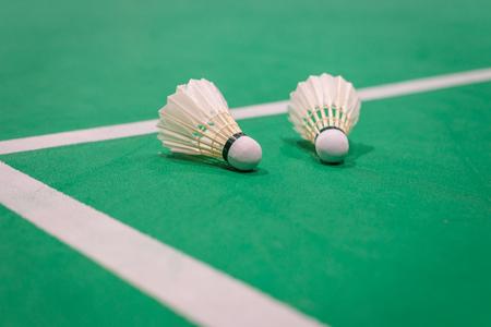 closeup badminton shuttlecock on green court. Standard-Bild - 110095839