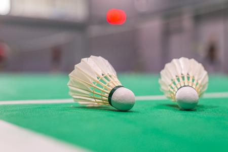 closeup badminton shuttlecock on green court. Standard-Bild - 110097236