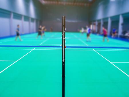 badminton net in the badminton court. Standard-Bild - 112670088