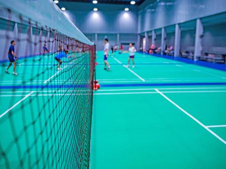 badminton net in the badminton court. Standard-Bild - 112670137