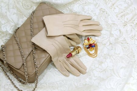 Leather beige gloves and purse on a lace background Stock Photo - 4995003
