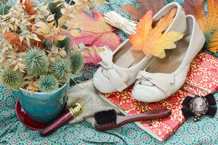 Set of accessories with autumn leaves in background