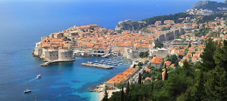 Panoramic aerial image of Dubrovnik fortress walls in Croatia Stok Fotoğraf