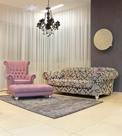 living room interior: Modern living room corner with vintage furniture