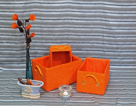 Set of orange baskets on stripe pattern background Stock Photo - 12120349