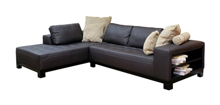 Large corner leather sofa isolated with clipping path included Stock Photo