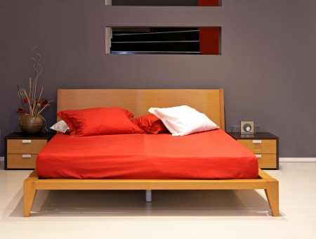 bed sheet: Minimalistic double bed in modern bedroom interior
