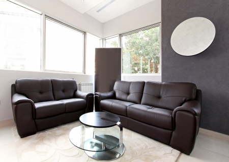Small living room interior with leather furniture Stock Photo