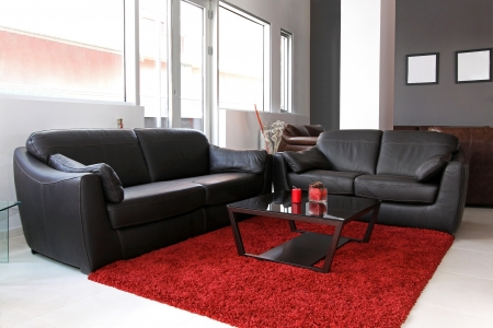 Small living room interior with leather furniture Stok Fotoğraf