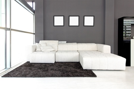 Modern living room interior with white furniture photo