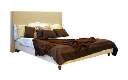 Modern bed isolated with clipping path included Stok Fotoğraf