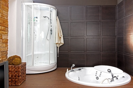 Modern bathroom interior with hydromassage bathtub and shower Stock Photo - 12418882