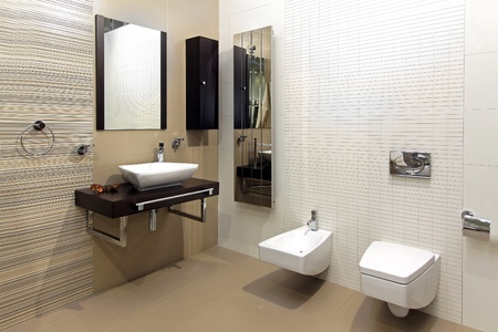 Modern bathroom interior with classic ceramic fixtures