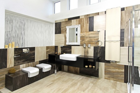 Modern bathroom interior with collage marble tiles photo