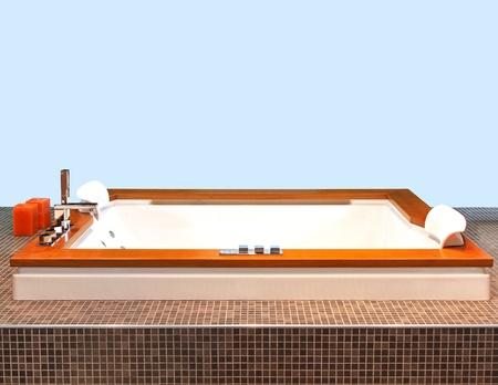 hydromassage: Square hydromassage tub in modern bathroom interior Stock Photo