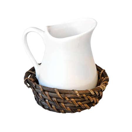 bushel: Ceramic milk jug in rattan bushel isolated