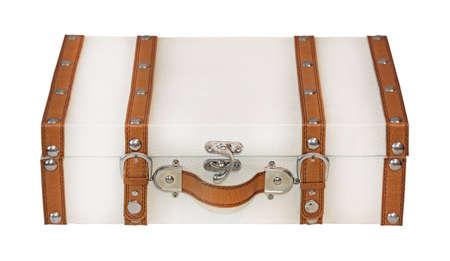 Retro leather suitcase isolated  photo