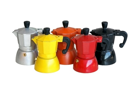 cofffee: Bunch of colorful coffee pots isolated