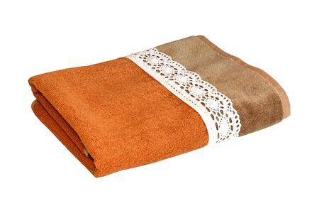 orange washcloth: Folded towel