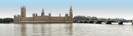 London cityscape from Thames river on House of Parliament photo