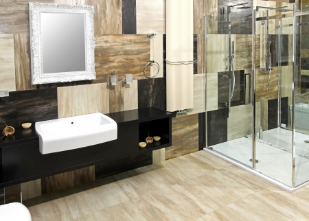 Modern bathroom interior with collage marble tiles Stok Fotoğraf - 13049596