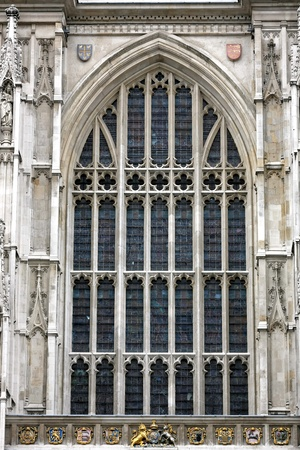 Large window on Westminster Abbey cathedral in London photo