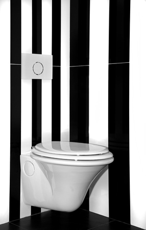 Modern toilet with vertical black and white stripes wall Stock Photo - 14151691