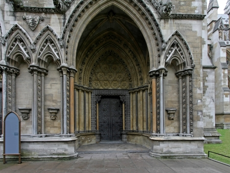 Entrance of Westminster Abbey cathedral in London photo
