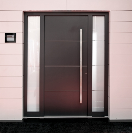 Big outside entrance door with silver details Stok Fotoğraf