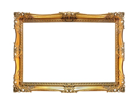 Vintage gold frame isolated photo