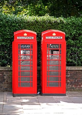phonebooth: Famous British landmark red phonebooth on London street