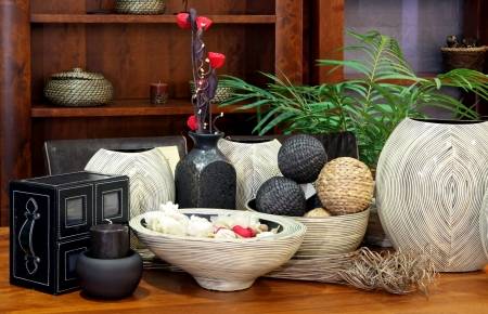 Large set of rattan home decor ornaments Stock Photo
