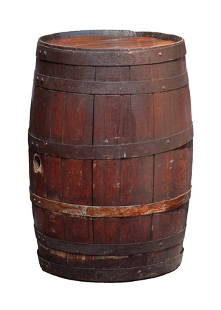 Retro wooden barrel isolated with clipping path included