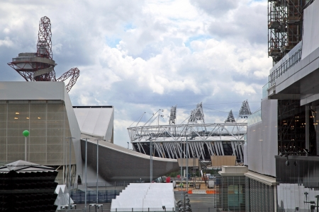 Construction site of olympic park in Stratford before summer Olympic games in London 2012