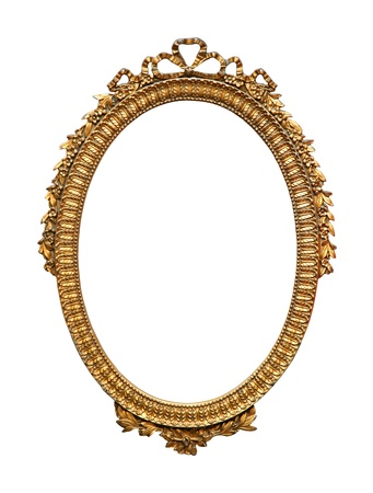 Decorative gold carved frame isolated with clipping path included photo