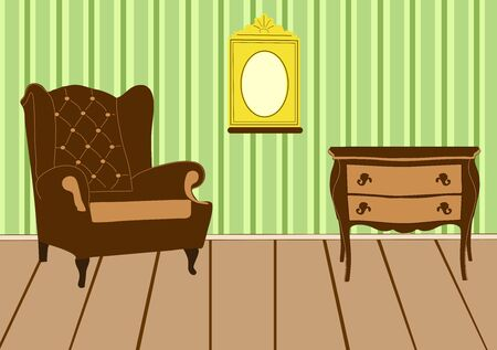 Retro room interior with furniture and picture frame on wall Vector