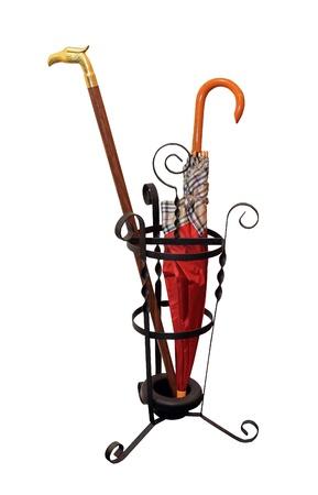 tenedores: Paraguas Iron pie con el paraguas rojo aislado Foto de archivo
