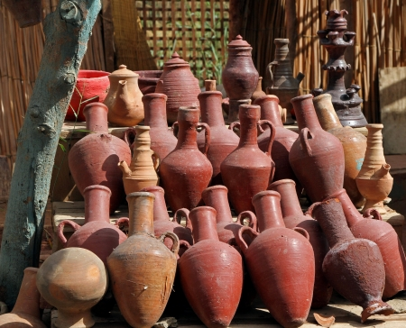 Big pile of ancient amphoras from Egyptian time Stock Photo