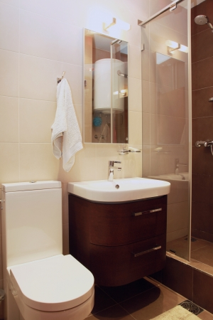 Small modern bathroom interior with brown tiles photo