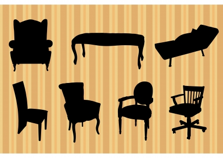 Black silhouettes of retro seats furniture on beige wallpaper Vector