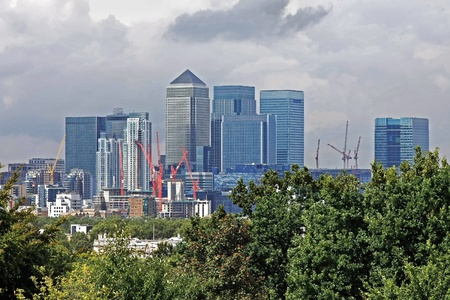 Skyline view of financial London district Canary Wharf photo