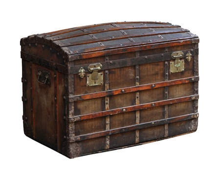 Antique wooden chest isolated with clipping path included photo