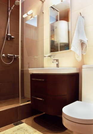 Small modern bathroom interior with marble tiles Stock Photo - 17752815